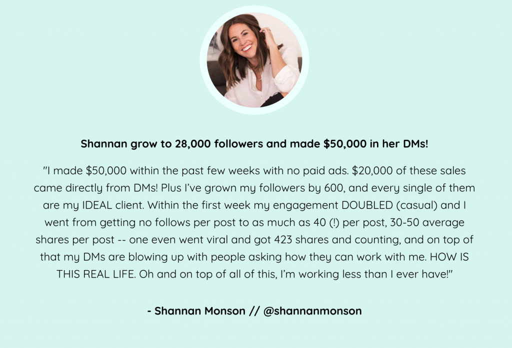 Shannan's Testimonial - Insta Growth Accelerator Review