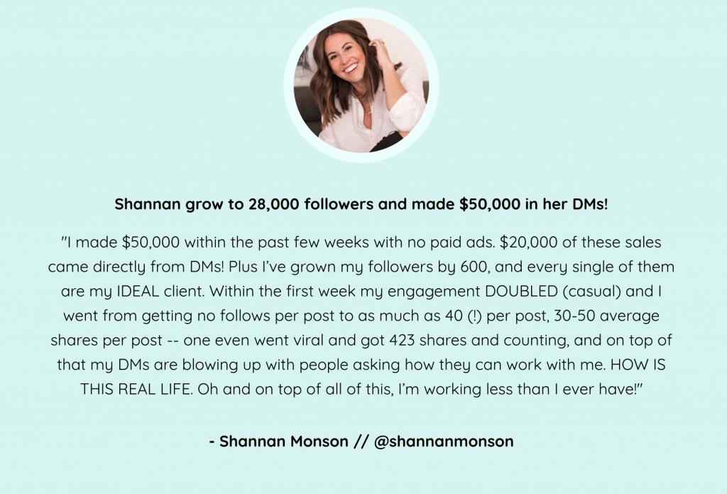 Shannan's Testimonial - Insta Growth Accelerator Review